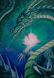 龍吟 アクリル画 タムラゲン ( タムラ・ゲン ) 田村元 画家 龍画 リキテックス SUNABAギャラリー Gen Tamura acrylic painting Liquitex painter artist Japan