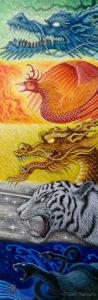 五行鳴動 五神獣 アクリル画 タムラゲン ( タムラ・ゲン ) 田村元 画家 リキテックス SUNABAギャラリー Gen Tamura acrylic painting Liquitex painter artist Japan
