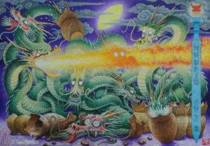 九頭龍酩酊之図 アクリル画 タムラゲン ( タムラ・ゲン ) 田村元 画家 リキテックス SUNABAギャラリー Gen Tamura acrylic painting Liquitex painter artist Japan