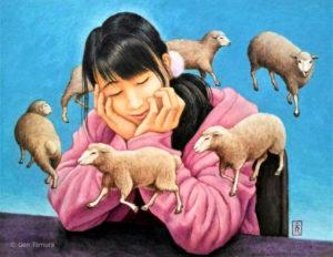 《夢見心地》 アクリル画 タムラゲン ( タムラ・ゲン ) 田村元 画家 Dreamy by Gen Tamura acrylic painting Liquitex gallery hydrangea