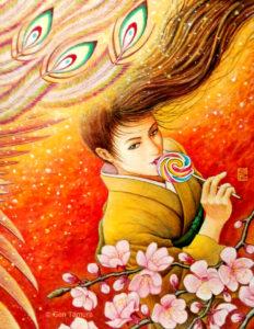 五果の杏 アクリル画 タムラゲン ( タムラ・ゲン ) 田村元 画家 リキテックス 和紙 SUNABAギャラリー acrylic painting Gen Tamura painter Liquitex artist Japan