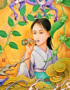 《五果の棗》 アクリル画 タムラゲン ( タムラ・ゲン ) 田村元 画家 リキテックス 和紙 SUNABAギャラリー Jujube of the Five Fruits by Gen Tamura acrylic painting Liquitex