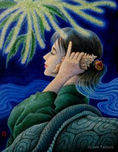 《五果の栗》 アクリル画 タムラゲン ( タムラ・ゲン ) 田村元 画家 リキテックス 和紙 SUNABAギャラリー Chestnut of the Five Fruits by Gen Tamura acrylic painting Liquitex